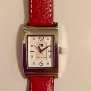 Tommy Hilfiger Reversible Red and Navy Watch, $22